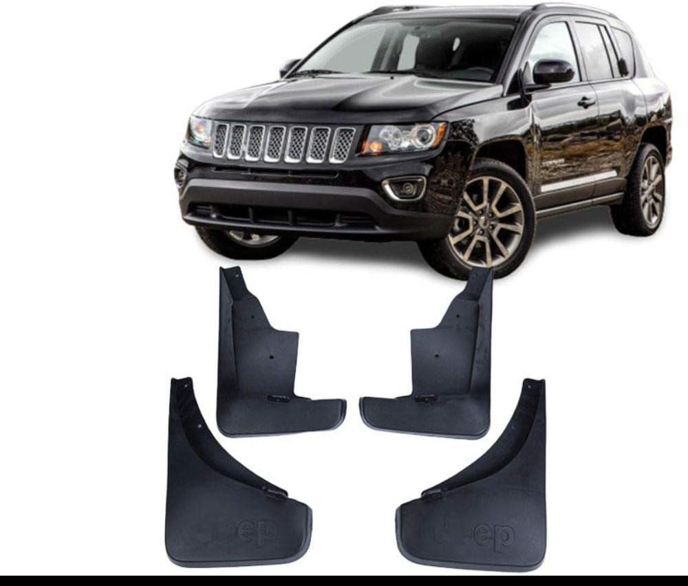per Jeep Compass 2011-2016 Anteriore Posteriore Paraspruzzi con Chiodi Fissaggio Vite GLFDYC 4Pcs Parafango Nero Flare Styling Mudguard Accessori Flaps Set Modellati