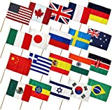 Cheap 12×18 12″x18″ Set of 20 International Countries Stick Flag wood Staff