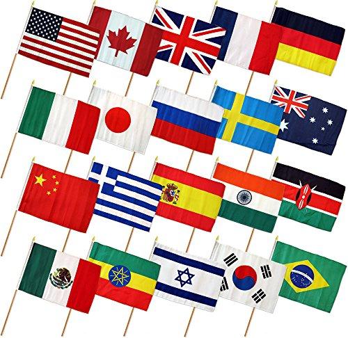 "12x18 12""x18"" Set of 20 International Countries Stick Flag wood Staff"
