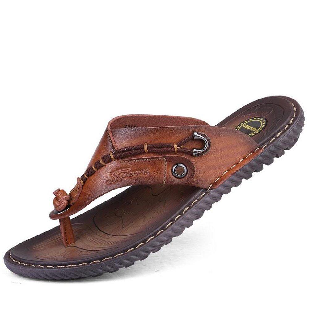 GAOLIXIA Zapatillas de hombre de verano nuevo - Sandalias de playa de microfibra - Chancletas 2 tipos de talla opcional 6-11 (Color : 1 brown, tamaño : 42) 42 1 brown