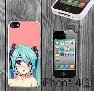 Hatsune Miku Cute Custom made Case/Cover/skin FOR iPhone 4/4s - White - Rubber Case ( Ship From CA)