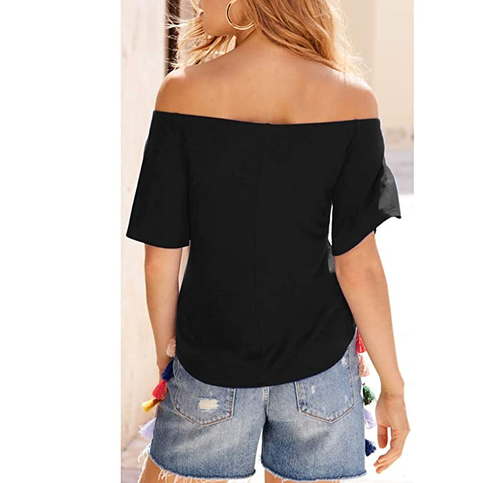 cf8ec94caff Gfsoediden Sexy Solid Off The Shoulder Short Sleeve V Neck Slim Fit T-Shirt  (