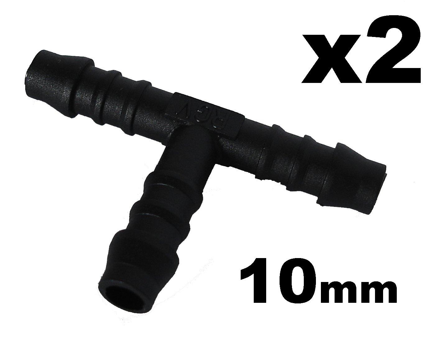 Schlauchverbinder Kunststoff T-Stü ck x2 - Auß endurchmesser 10mm Fü r Schlä uchen