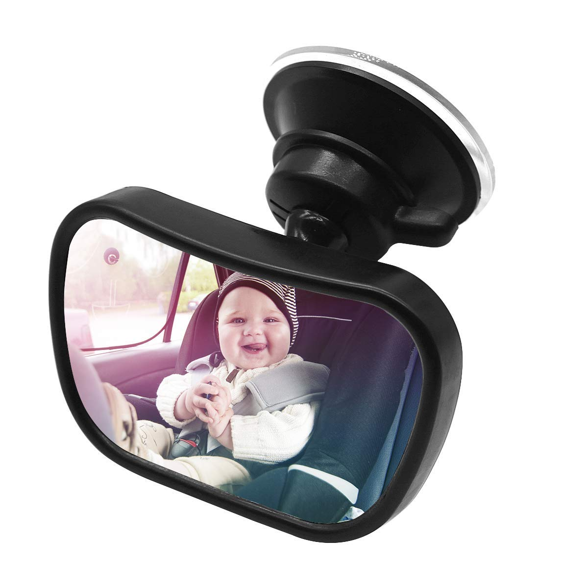 Upgrade Mini Baby Car Mirror Rear View Mirror in Rear Facing Car Backseat Safety Monitor for Infant Child Toddler with Shatterproof Acrylic and 360/°Adjustable Suction Cup