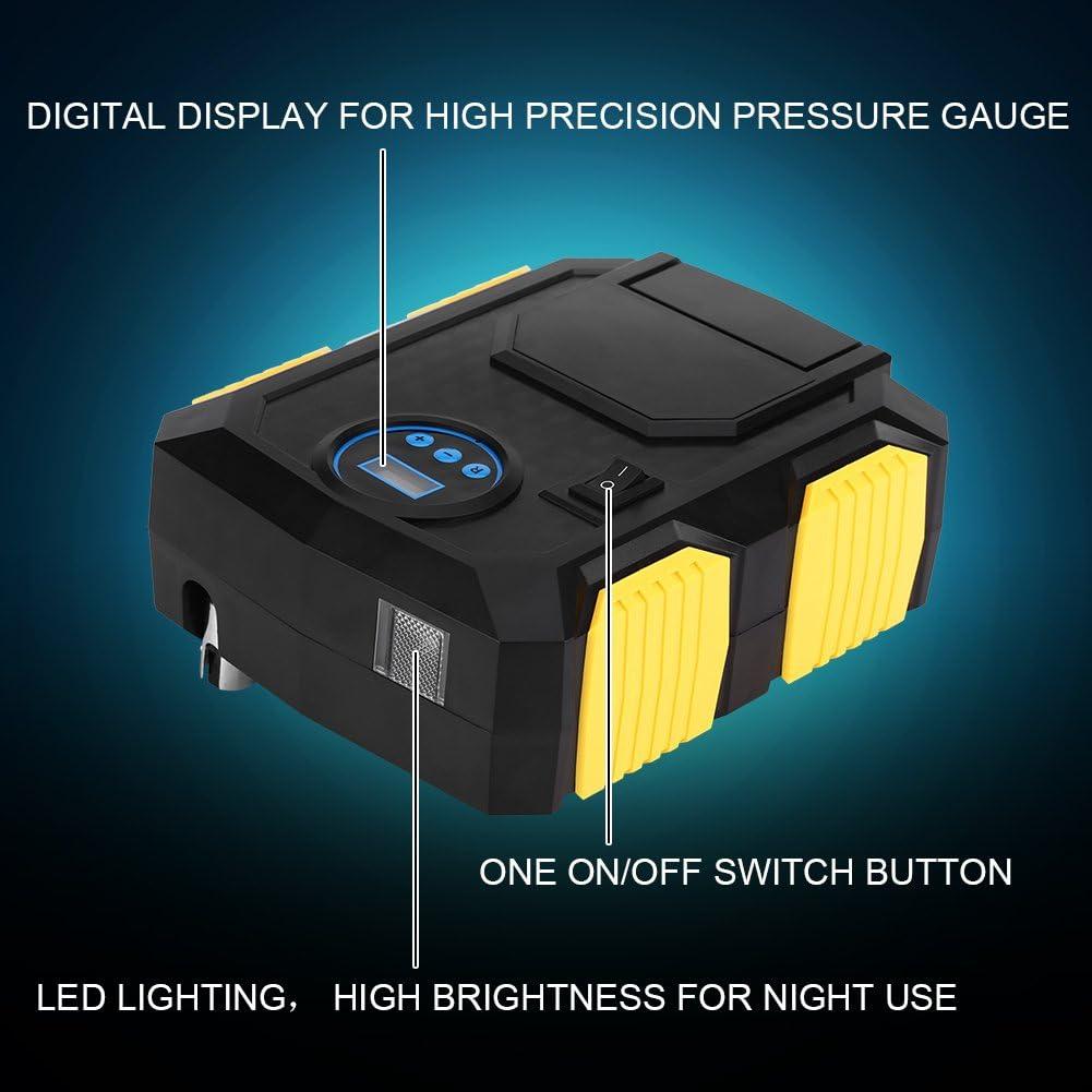 Keenso Gonfleur de Pneu de la Pompe 150PSI de Digital de CC avec la Jauge Men/ée la Lumi/ère pour Voitures V/élos avec 3 Adaptateur Compresseur dAir Portable de Voiture