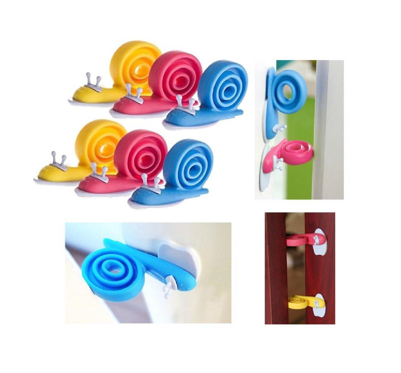 Our Fantasy Time Lot de 6mignon escargot Butée de porte anti-pince-doigts, sécurité enfant pour portes et fenêtres .360° Rotatif