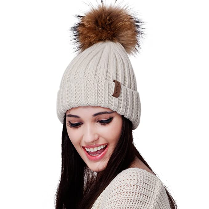Womens Knitted Winter Pom Beanie Hat Faux Fur Pom Pom bobble Hat beanie for  girls 82017470e8b1