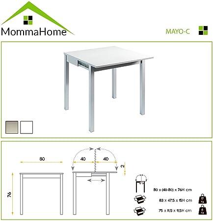 Mesa de Cocina Extensible - Modelo Mayo - Color Blanco/Plata ...