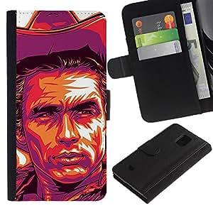 Stuss Case / Funda Carcasa PU de Cuero - Cowboy Violet Yellow Man Far West - Samsung Galaxy S5 Mini, SM-G800
