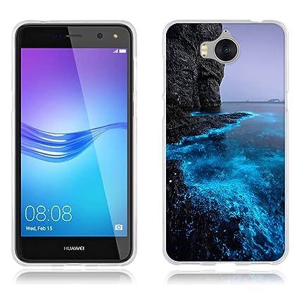 Funda Huawei Y5 2017/ Huawei Y6 2017, Carcasa Protectora de Silicona de Calidad Superior -FUBAODA- Lujoso Dibujo de Costa Fosforescente, Resistente a ...