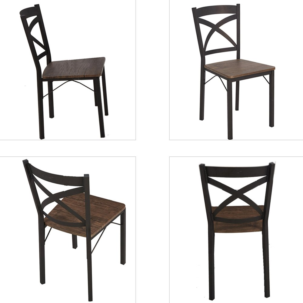Dporticus 5-Piece Dining Set Industrial Style Wooden Kitchen Table and Chairs with Metal Legs- Espresso by Dporticus (Image #7)
