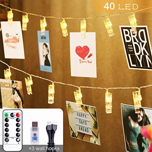 Anlaibao Photo Clip String Light, 40 LED 8 Modes 20ft Extended USB Plug in, with Remote Control Timer Dimming, for Bedroom Garden Party Clips Holder Exhibition Photos Pictures Cards, Warm White