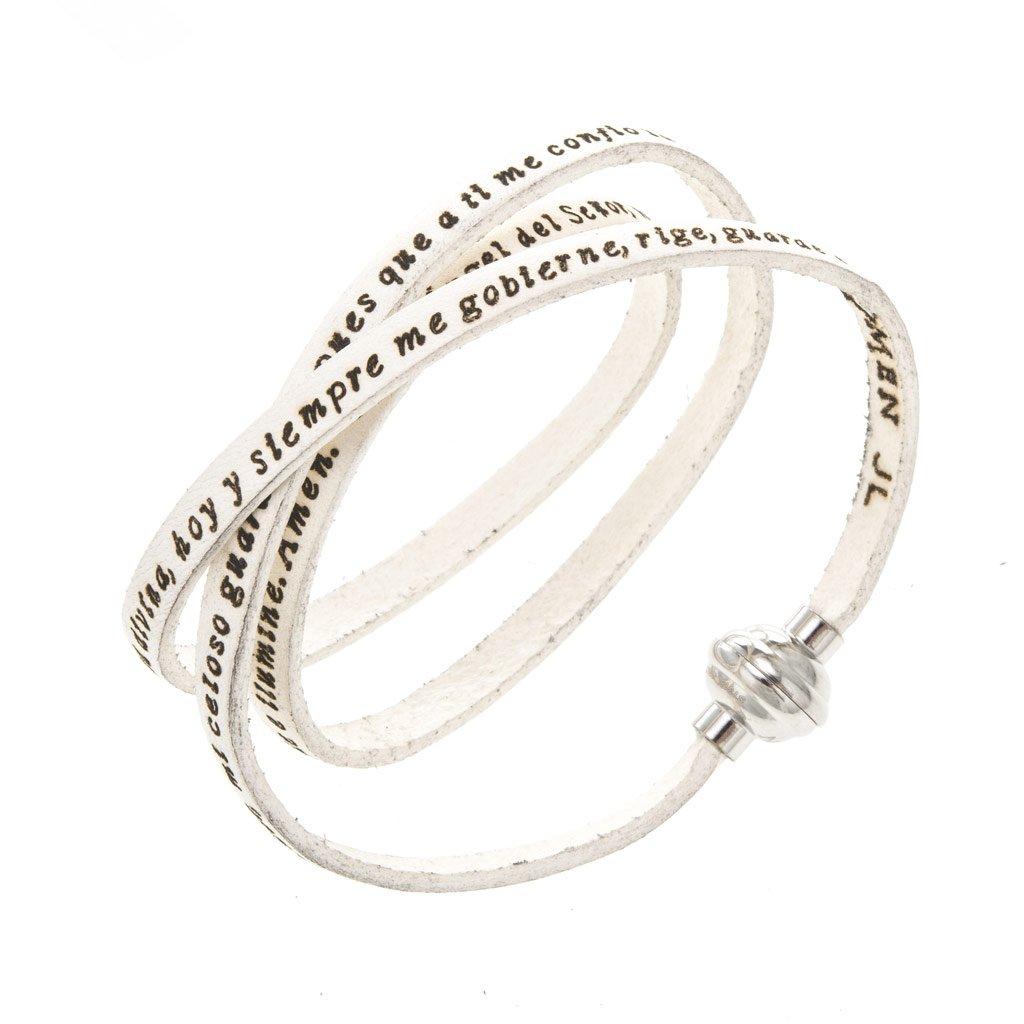 Holyart Amen Bracelet in white leather Guardian Angel SPA, 48 cm (18.91 inc.)