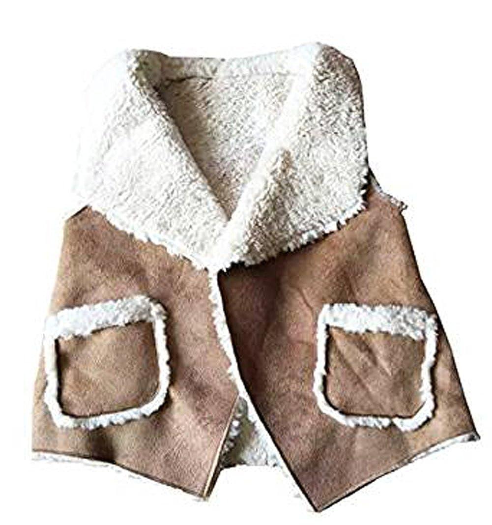 eKooBee Baby Little Girls Vest Suede Leather Fleece Outerwear