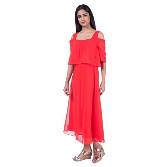 Mamosa Red Georgette Cold Shoulder Cape gown for latest design ...