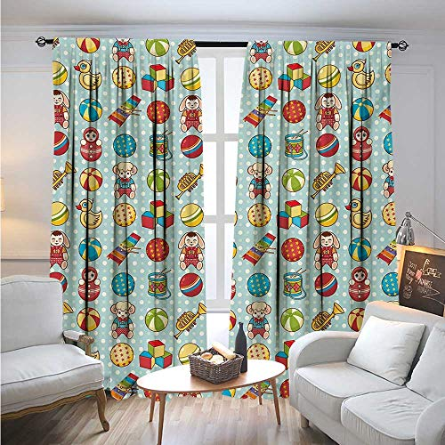 Price comparison product image BlountDecor KidsBlackout DrapesVintage Old Children`s Toys Pattern on Polka Dotted Background Playful Nursery ThemeThermal Insulated Blackout Curtains for Bedroom W84 x L96 Multicolor