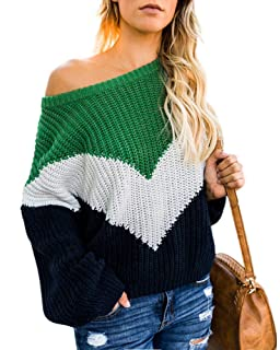 Womens Off The Shoulder Sweater Plus Size Color Block Striped Pullover  Sweaters Sexy Oversized Jumper Tops 3bbeff854