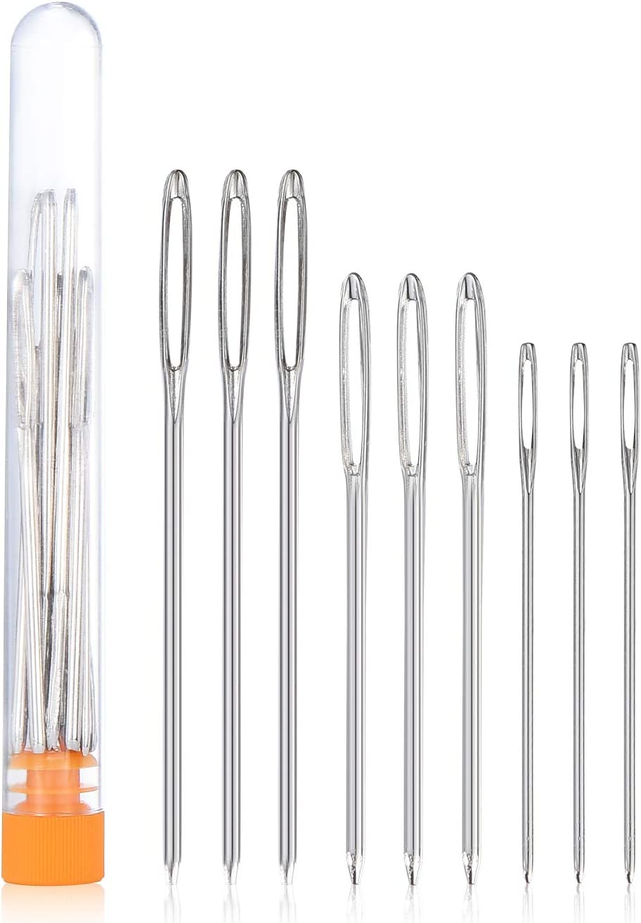 NuLink Stainless Steel Yarn Knitting Needles Sewing Needles Embroidery Needle Cross Stitch 9Pcs Large Eye Blunt Needles