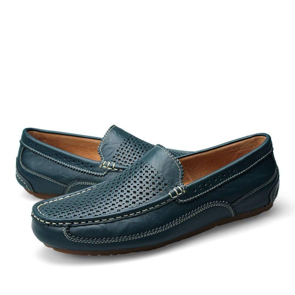 Mocasines para hombre, Mocasines ligeros para hombre Mocasines Bare Vamp Wing-Top Edge Slip-on Flat Soft Sole Formal (Color: Azul hueco, Tamaño: 44 EU) ...