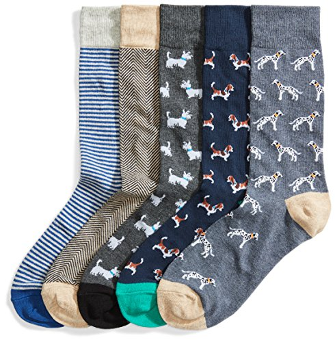 Goodthreads Men's 5-Pack Patterned Socks, Assorted Dogs, Shoe Size: -