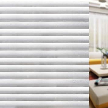 rabbitgoo blickdichte Fensterfolie Sichtschutzfolie Fenster Milchglasfolie  Selbstklebend Folie Klebefolie für Bad Duschwand Streifen Jalousette 90 x  ...