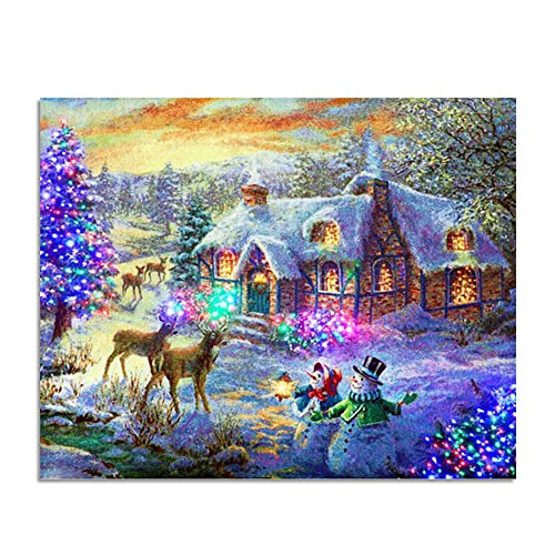 - Mobicus 5D DIY Diamond Painting by Number Kits,Snow in The Cabin(16X12inch/40X30CM)