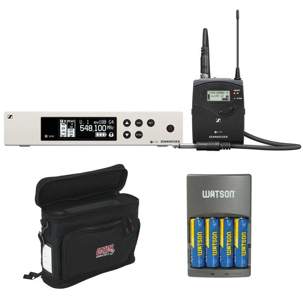 Sennheiser ew 100 G4 Wireless Instrument System with Ci 1 Guitar Cable A: (516 to 558 MHz) plus Gator Cases GM-1W Wireless Mobile Pack and 4-Hour Rapid Charger (4 AA NiMH Batteries) by Kellards