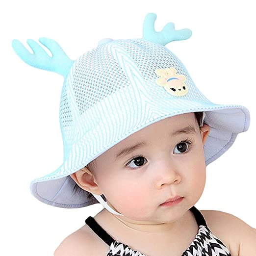 a2dc3551e1c70 Roffatide Baby Toddler Infant Mesh Antler Ears Boonie Bucket Sun Hat Summer  Cap with Chin Strap