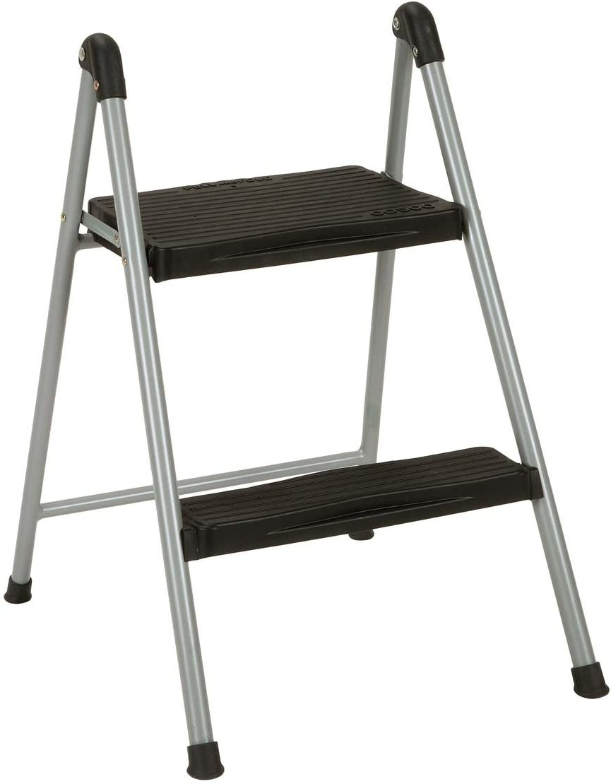 Cosco Two Step Steel, Resin Steps, Step Stool without Handle, Platinum Black