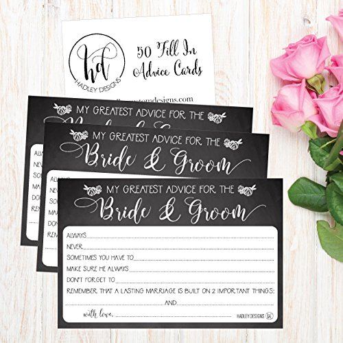 50 4x6 Rustic Chalk Wedding Advice & Well Wishes For The Bride and Groom Cards, Reception Wishing Guest Book Alternative, Bridal Shower Games Note Card Marriage Best Advice Bride To Be or For Mr & Mrs Photo #4