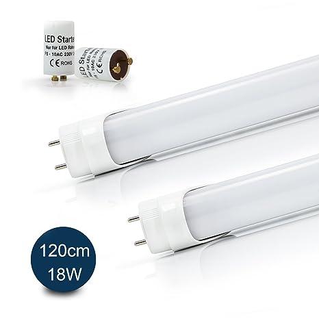 2x Vkele Tubos fluorescentes LED 120cm Luz diurna Blanco ...