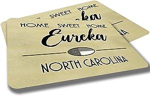 Eureka North Carolina Home Sweet Home Towns Cities Provinces Door Mat Beige Design Rubber Grip Non Skid Backing Rug Indoor Entryway Door Rug Mats Pack of 2
