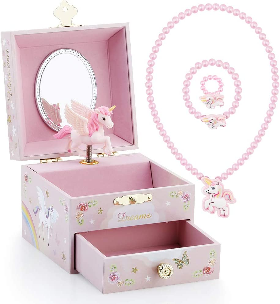 Blue Danube Tune Pink RR ROUND RICH DESIGN Kids Musical Jewelry Box for Girls with Drawer and Jewelry Set with Magical Unicorn