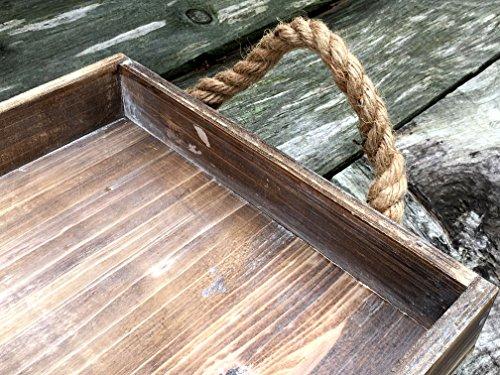 Rustic Beach Wood Tray with Jute Rope Handles - 20-in