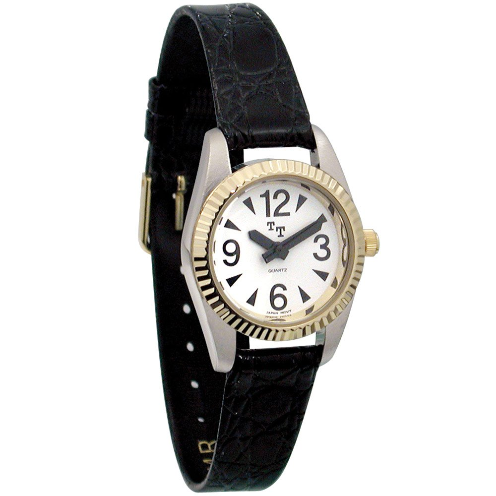 Low Vision Watch- Womens White Face, Leather Band by MaxiAids