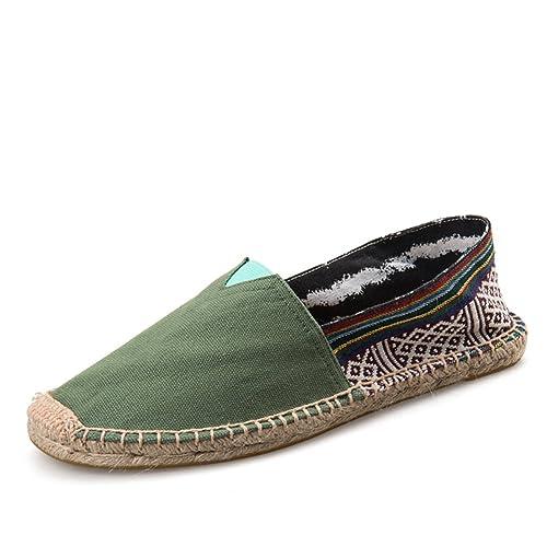 Estilo Chino Alpargatas para Hombre Linen Espadrilles Verde Lona Zapatillas: Amazon.es: Zapatos y complementos