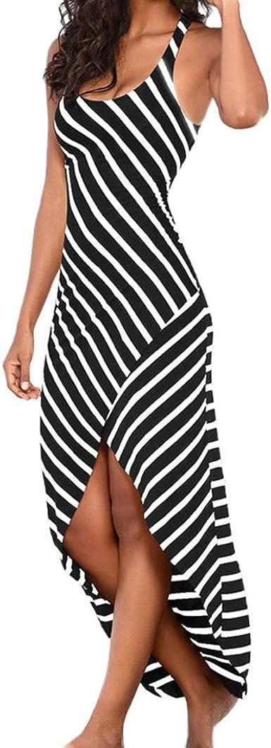 Women Dress Women Sleeveless Striped Loose Long Beach Indoor Casual Sundress