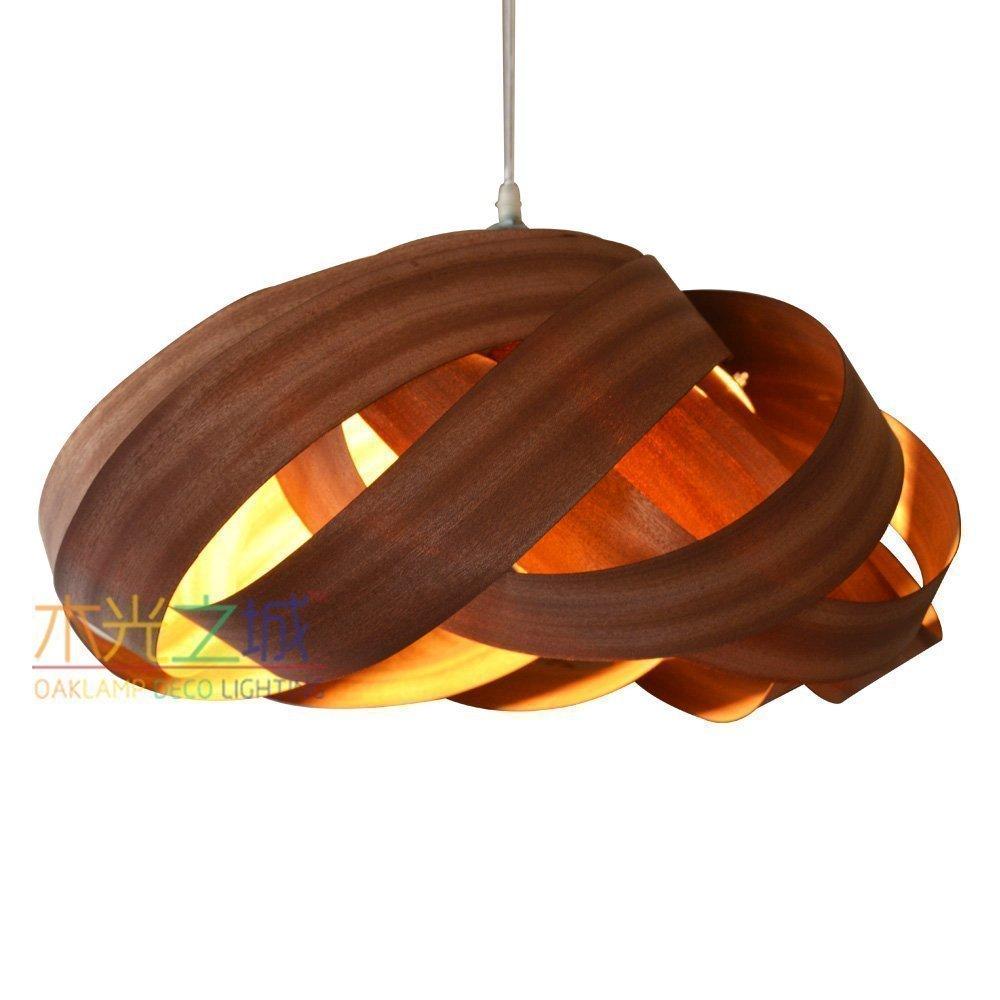 Handmade Nest Hanging 2-Light Pendant Light L, made of real Sapele veneer, Unique rustic veneer light, it is a beautiful pendant lamp for interior decoration