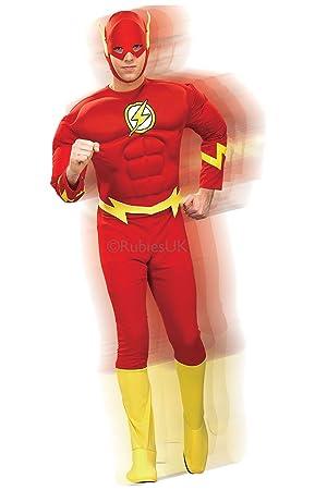 Para hombre Deluxe The Flash Rubies disfraz con músculos de producto  oficial de DC Comics cbfcc04998c