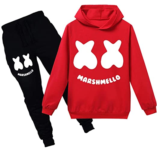 Silver Basic Girls Tracksuits Marshmello Hoodie and Trousers Kids Size