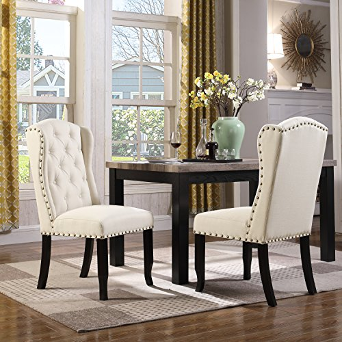 Iconic Home Nayman Dining Side Accent Wingback Chair Button Tufted Velvet Upholstered Goldtone Nailhead Trim Tapered Espresso Wood Legs, Modern Transitional, Beige, Set of 2 For Sale