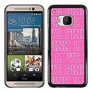 All Phone Most Case / Hard PC Metal piece Shell Slim Cover Protective Case Carcasa Funda Caso de protección para HTC One M9 pink love text white repetitive pattern