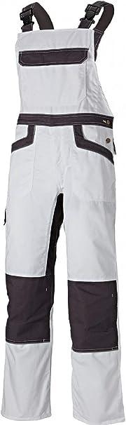 Work Trousers Men Bib and Brace Overalls Painters Knee Pad Decorators White L/&H