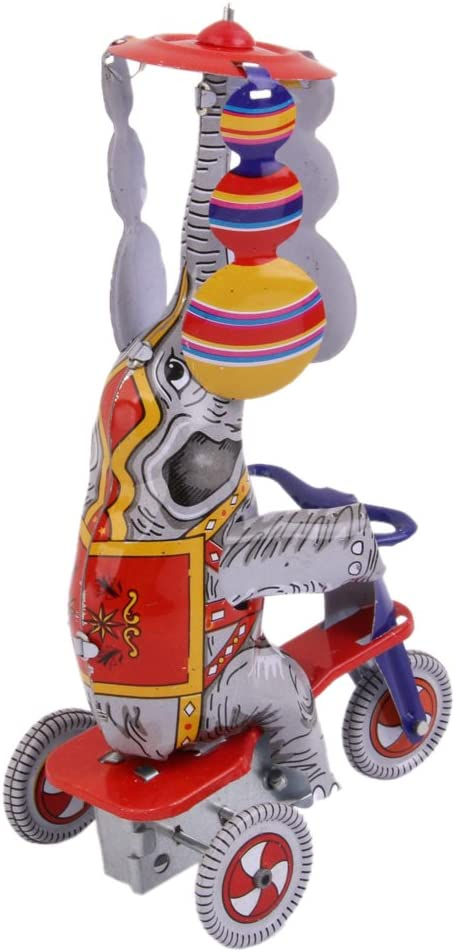 Dailymall Wind Up Circus Elephant On Tricycle Clockwork Menchincal Tin Toy Collectible