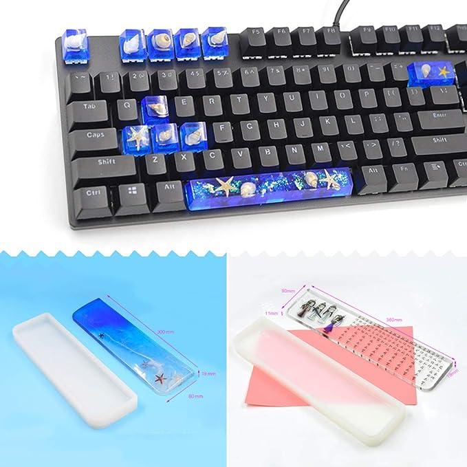 SUJUAN - Molde de silicona para teclados mecánicos de resina epoxi de cristal hecho a mano, herramientas de fabricación compatibles con el teclado ...