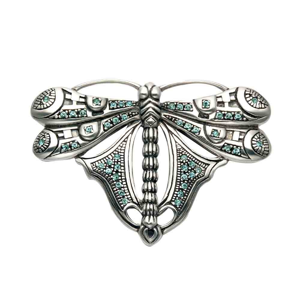 Wild Things Large Sterling Silver Dragonfly Pin w//Aqua Crystal Stones