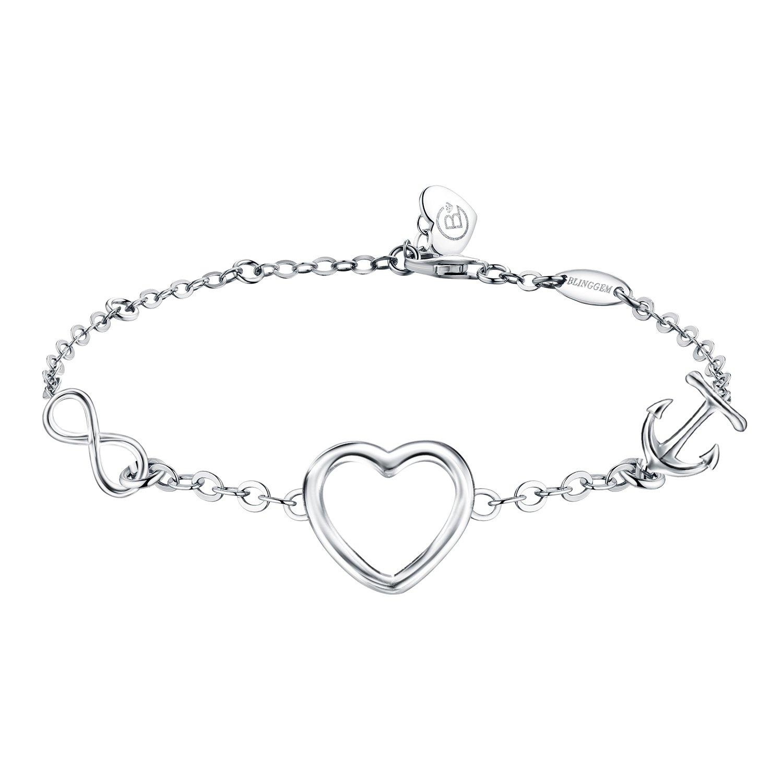 BlingGem ''Endless Love Bracelet 925 Sterling Silver Heart Bracelet Mirror Polished Jewelry Gift Women Made Love (Style 2)