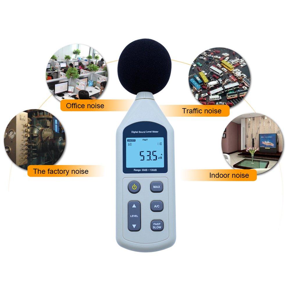 Rgbs LCD Digital Sound Niveau M/ètre bruit moniteur Instrument de mesure Decibel Surveillance Enregistreur testeur LCD A//C Fast//Slow DB /écran 30 130/dB