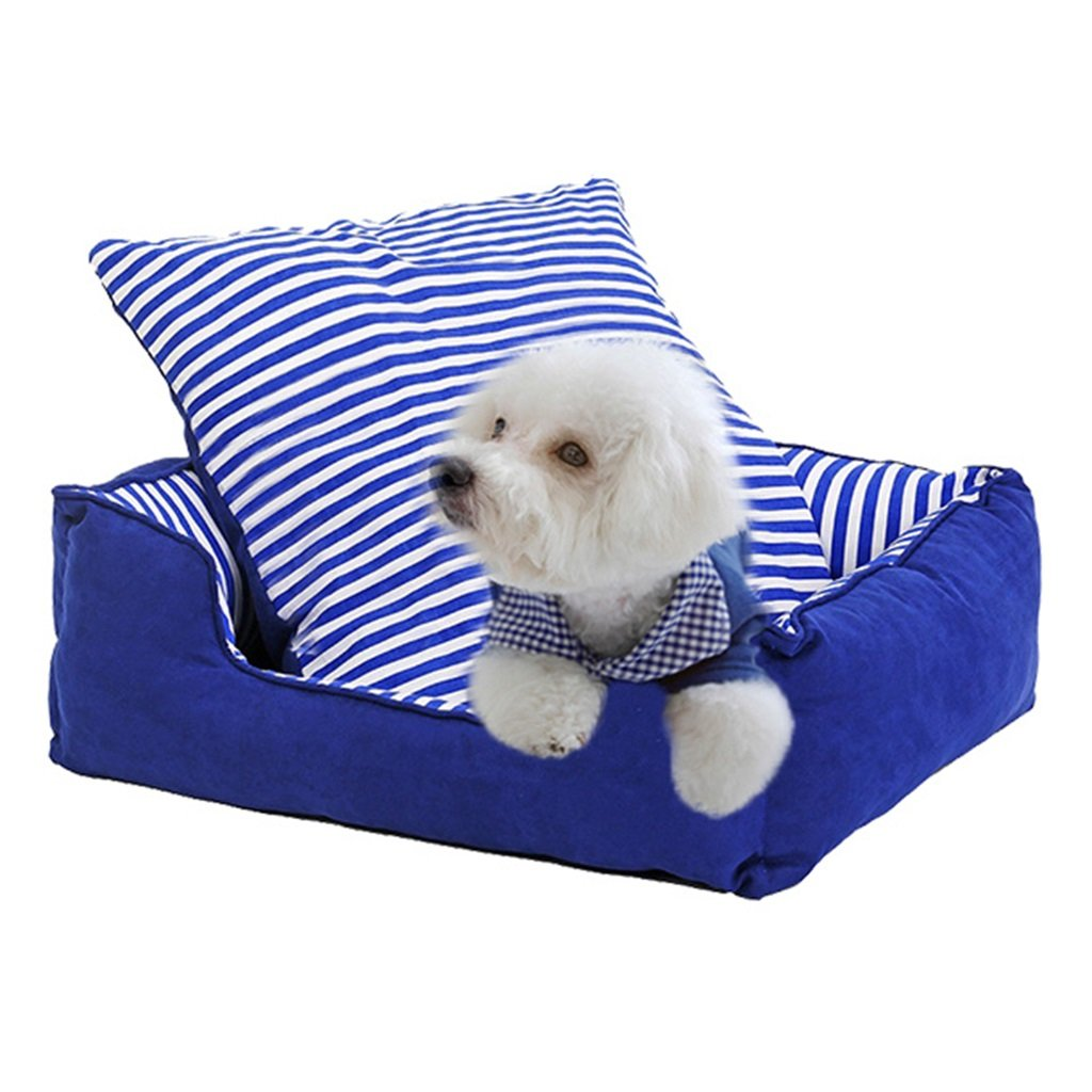 67cm BEDS Dogs Furniture Pet washable rectangular bluee velvet three-dimensional nesting dog hole pet cats and dogs (Size   67cm)