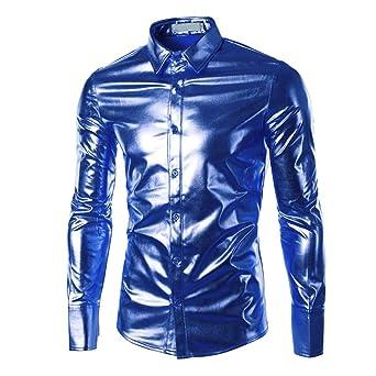 Camisas Hombre Rovinci Pintado Manga Larga Charol Blusas Brillantes de la Manera Brillante de la Capa Superficial: Amazon.es: Ropa y accesorios